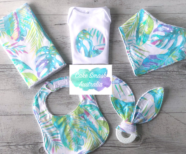 Newborn Gift Set / Baby Shower Gift / Watercolour Leaves