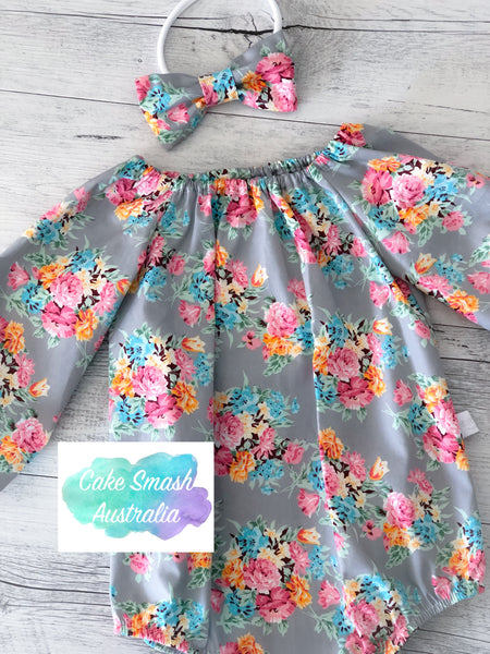 Baby Cake Smash Outfit / First Birthday Outfit / Stella Grey L/S Romper