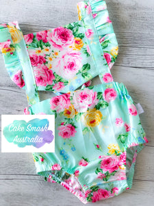 Baby Cake Smash / First Birthday Outfit / Retro Romper Ruru Aqua