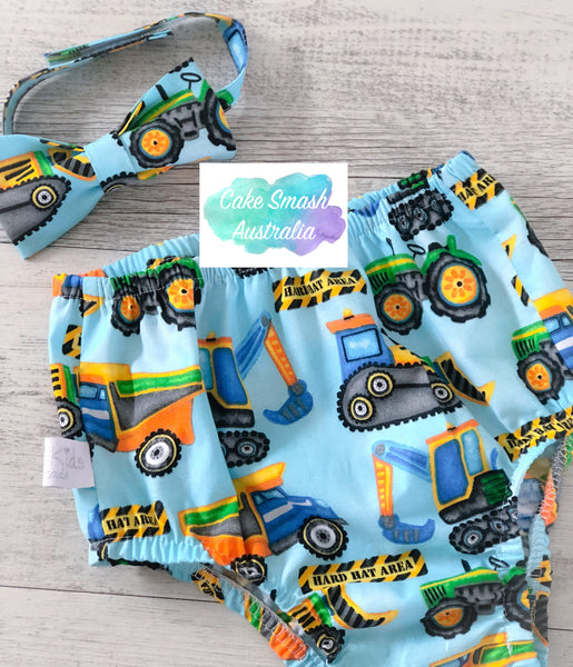 Construction Blue Baby Cake Smash Set / First Birthday Outfit