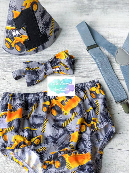 Baby Cake Smash / First Birthday Outfit / Little Digger Construction