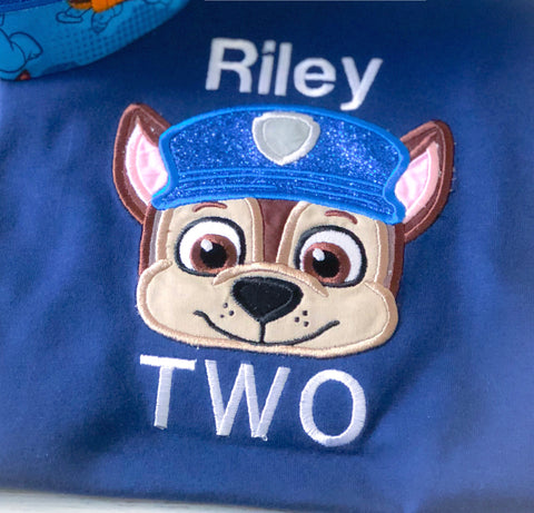 Boys Paw Patrol Chase Inspired Onesie/Romper Cake Smash / First Birthday
