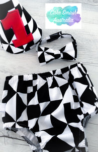 Geometric Tangram Baby Cake Smash Set / First Birthday Outfit