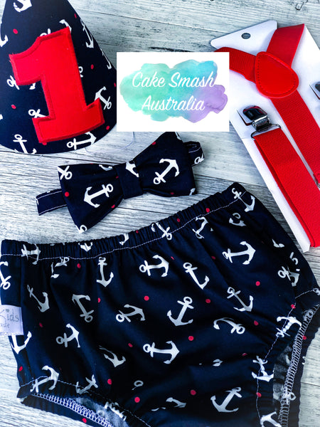 Baby Cake Smash Outfit / First Birthday Outfit / Anchor Nautical
