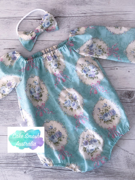 Baby Cake Smash Outfit / First Birthday Outfit / Sweet Rococo L/S Romper