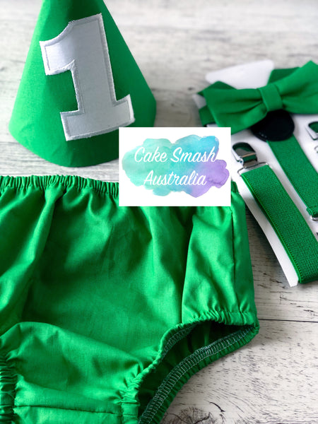 Baby Cake Smash / First Birthday Outfit / Dark Green