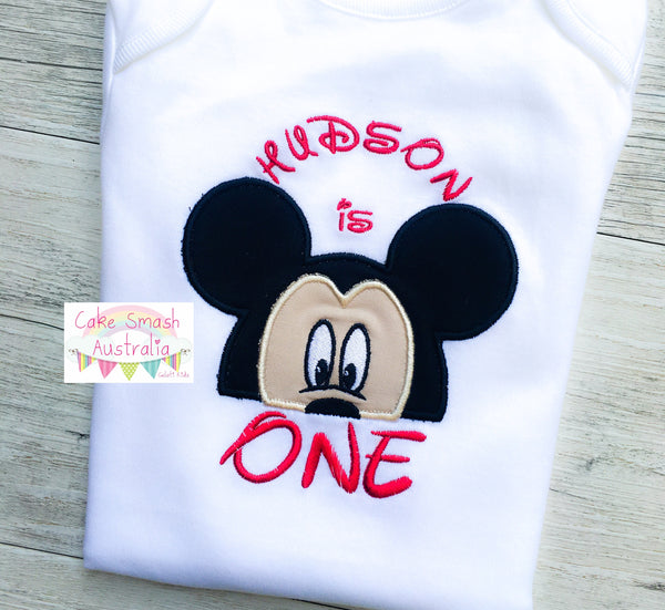 Mickey Mouse Inspired Romper / Baby Cake Smash / First Birthday