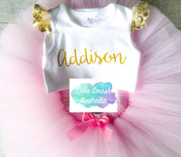 Baby Cake Smash / First Birthday / Pink Tutu & Gold Ruffle Sleeve Romper