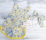 Sunshine Yellow Sporty Romper & Headband Cake Smash Outfit