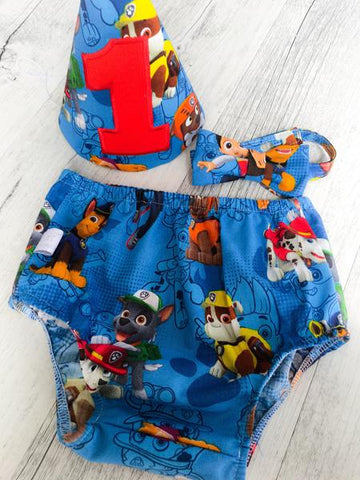Baby Cake Smash / First Birthday Outfit / Paw Patrol Blue