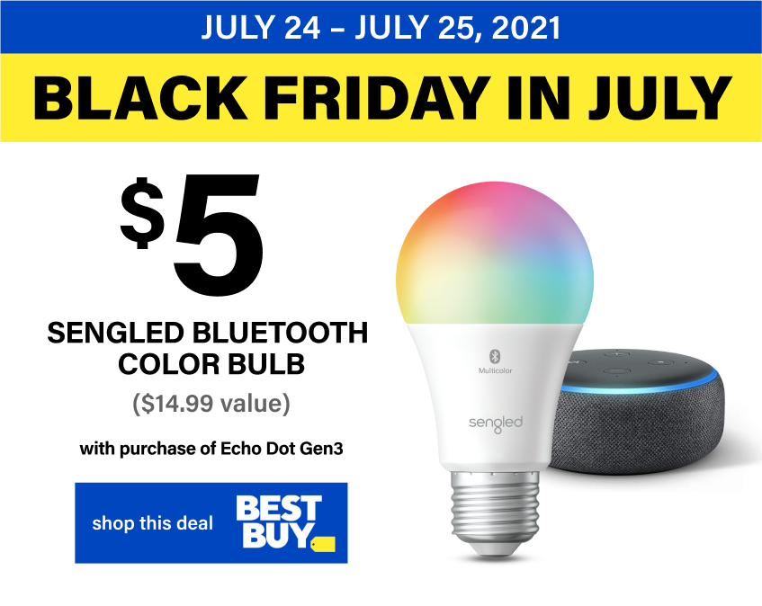 $5 Sengled Bluetooth Multicolor Bulb with Echo Dot Gen 3 Purchase