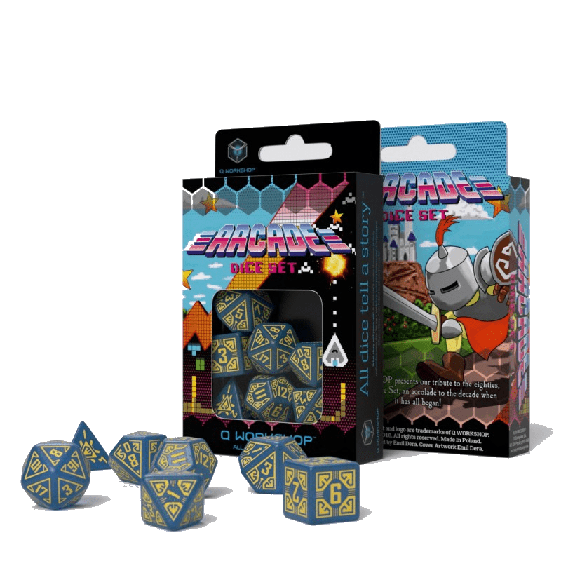 Arcade dice set-blue & yellow Q-Workshop Puzzles/Playthings