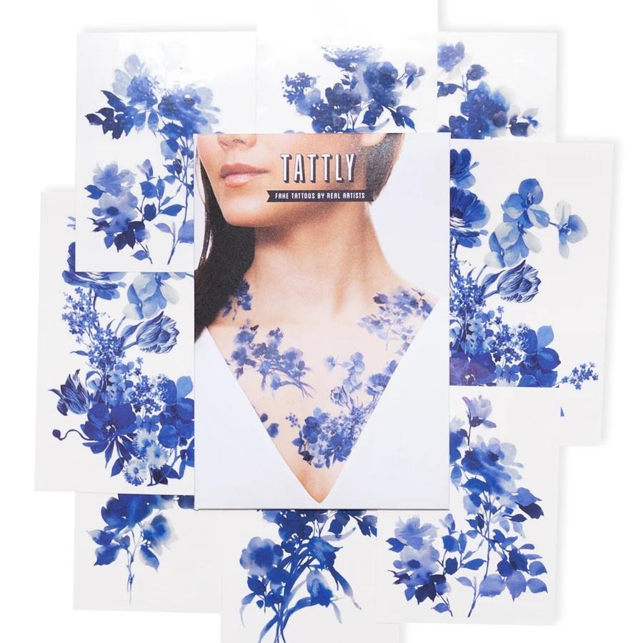 Blue Florals Tattoo Set Tattly Art Supplies