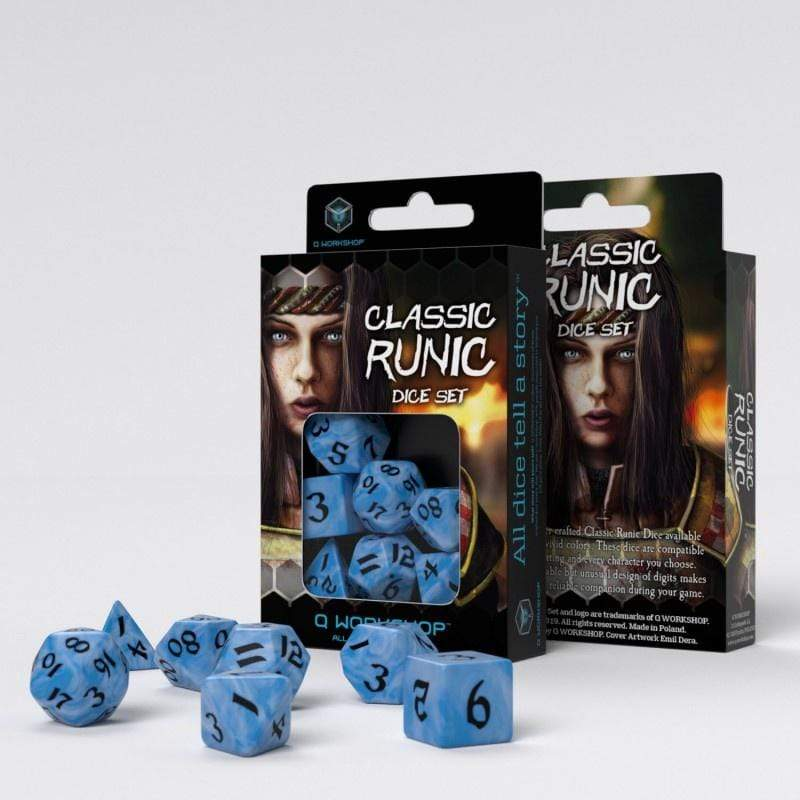 Classic Runic dice set-glacier & black Q-Workshop Puzzles/Playthings