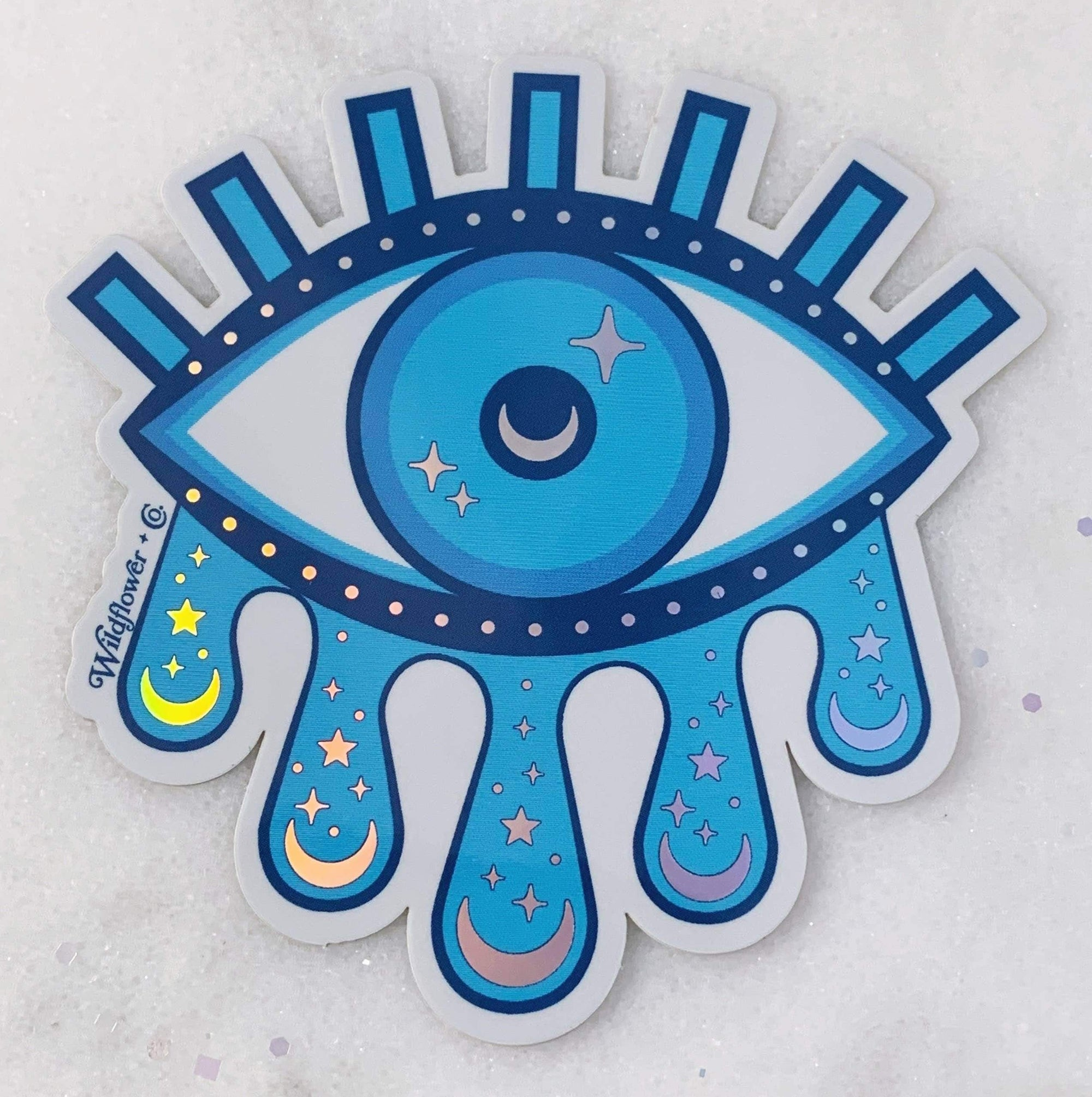 Cosmic Evil Eye Holo vinyl sticker Wildflower + Co. Paper Products