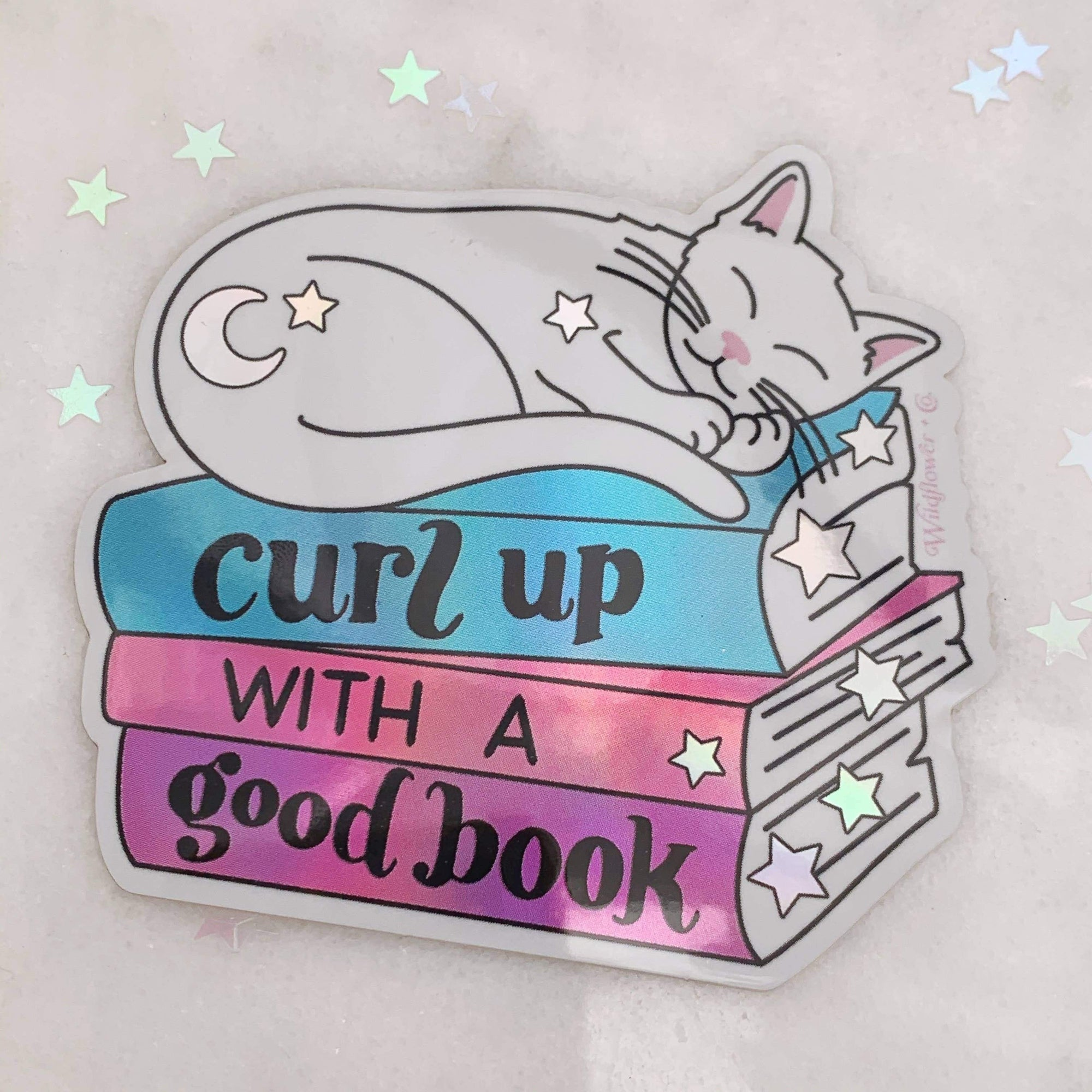Curl Up with a Good Book holo vinyl sticker Wildflower + Co. Paper Products