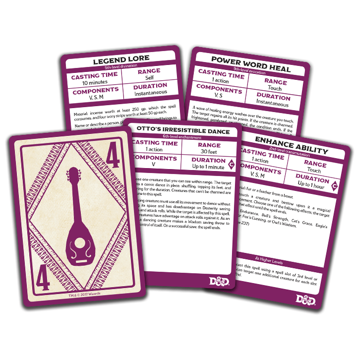 D&D Spellbook Cards: Bard deck Wizards of the Coast Board Games