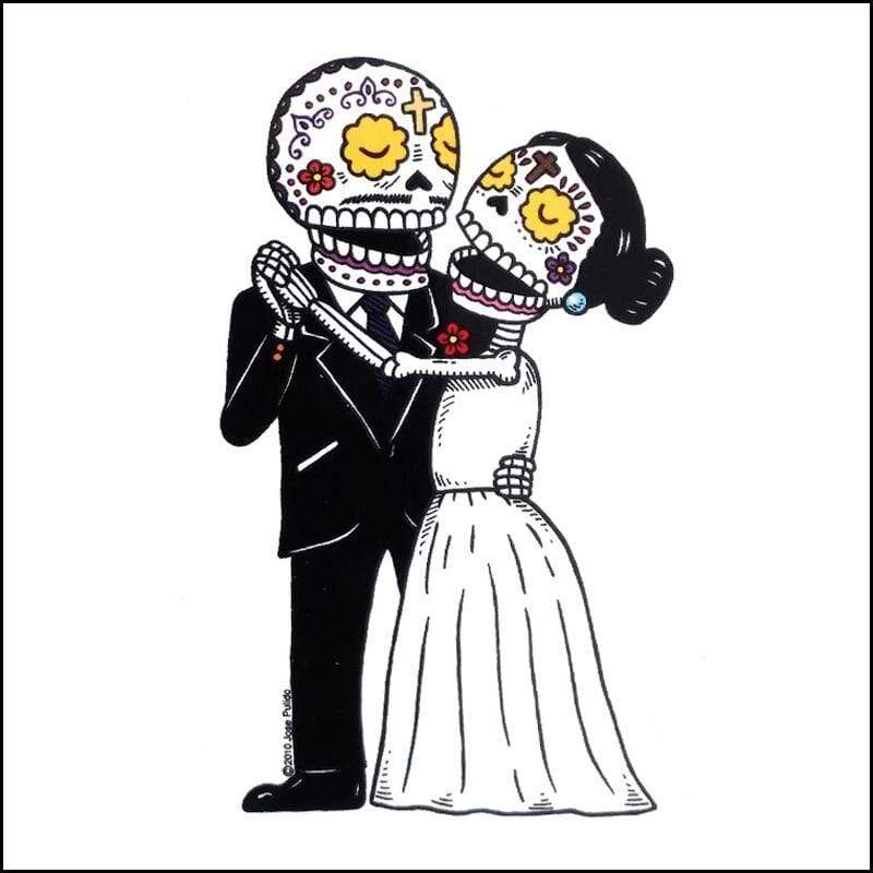 Day of the Dead Sticker: Bride and Groom dancing Fresh Prints Of Ct Paper Products