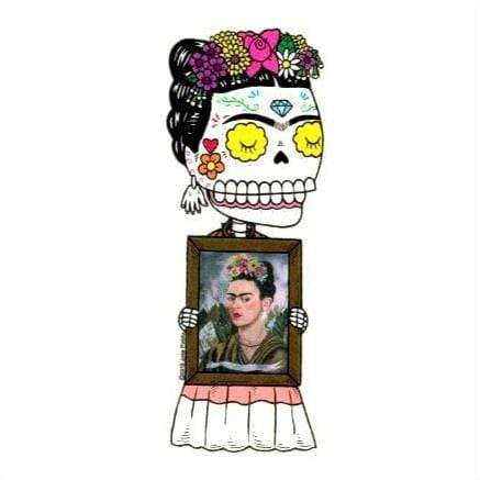 Day of the Dead Sticker:  Frida Kahlo w/self portrait Fresh Prints Of Ct Paper Products