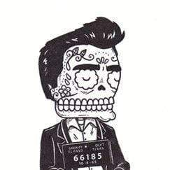 Day of the Dead Sticker: Johnny Cash mug shot Fresh Prints Of Ct Paper Products