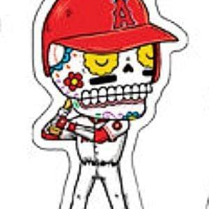 Day of the Dead Sticker: LA Angels baseball Fresh Prints Of Ct Paper Products