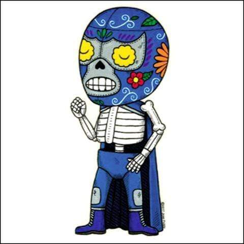 Day of the Dead Sticker: Luchadore Blue Fresh Prints Of Ct Paper Products