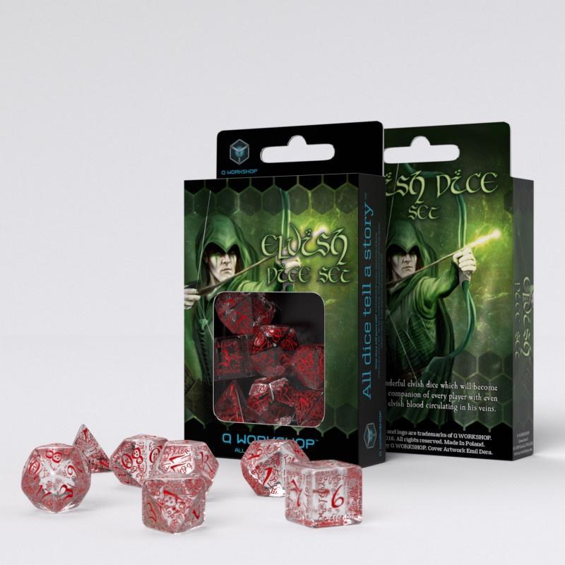 Elvish dice set-translucent & red Q-Workshop Puzzles/Playthings