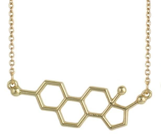Estrogen Molecule Necklace-Gold Plated ZAD Clothing/Accessories