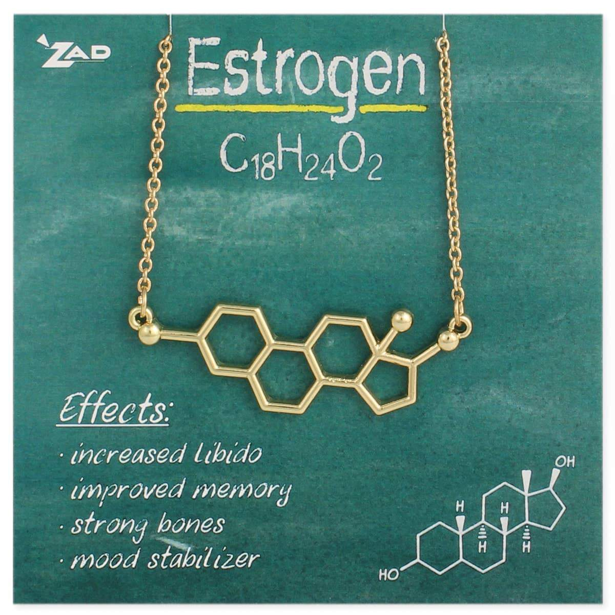 Estrogen Molecule Necklace-Silver Plated ZAD Clothing/Accessories