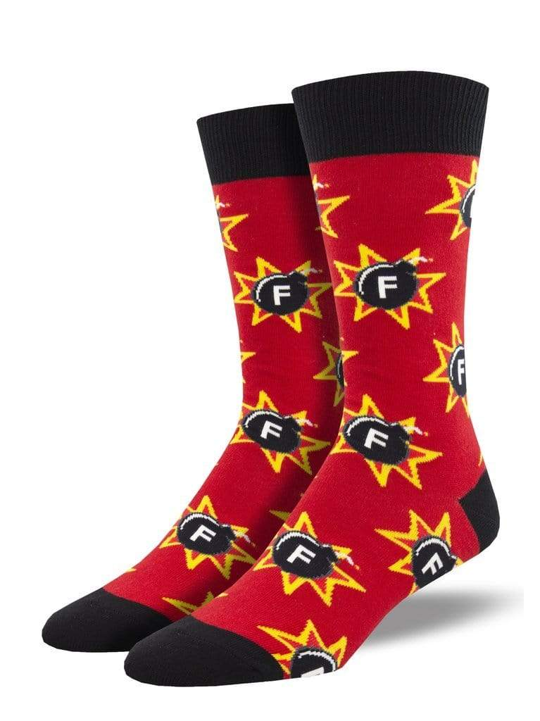 F-Bomb socks - red - mens Sock Smith Clothing/Accessories
