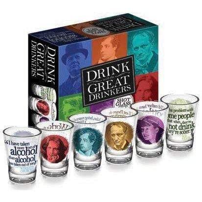 Great Drinkers Shot Glasses Set Unemployed Philosophers Guild Home Decor/Kitchenware
