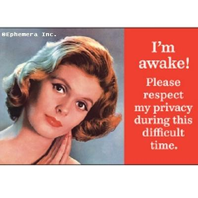 I'm awake! Please respect my privacy during this difficult time. magnet Ephemera Home Decor/Kitchenware