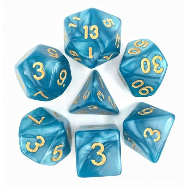 Lake Blue Pearl dice set HD Dice / Hengda Mfg. Puzzles/Playthings