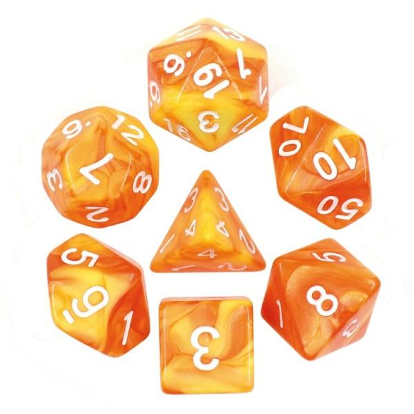 Lemon Yellow and Orange Blend dice set HD Dice / Hengda Mfg. Puzzles/Playthings