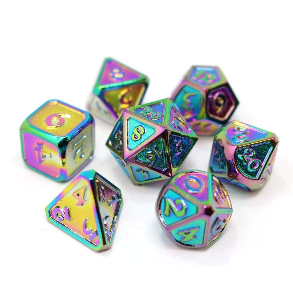 Metal Dice Set: Mythica Scorched Rainbow Die Hard Dice Puzzles/Playthings