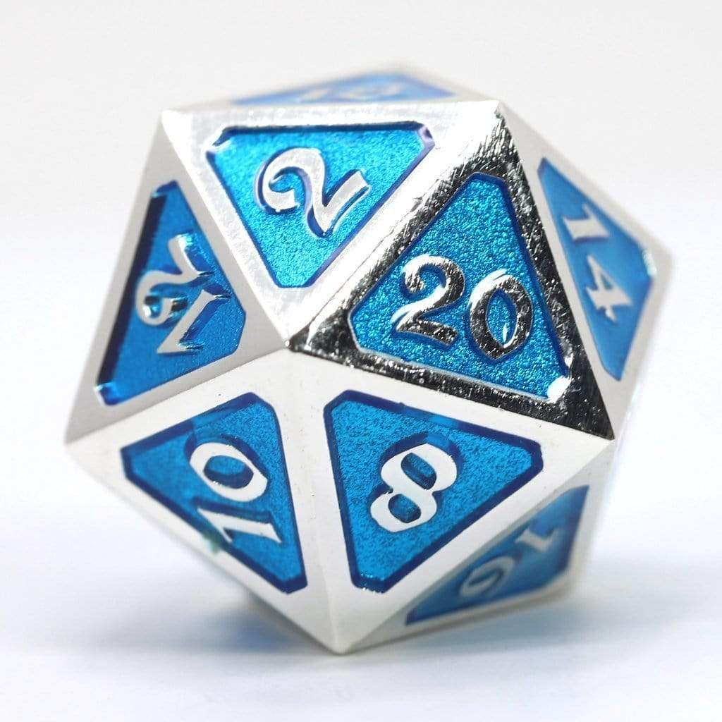 Metal Dire d20: Mythica Platinum Aquamarine Die Hard Dice Puzzles/Playthings