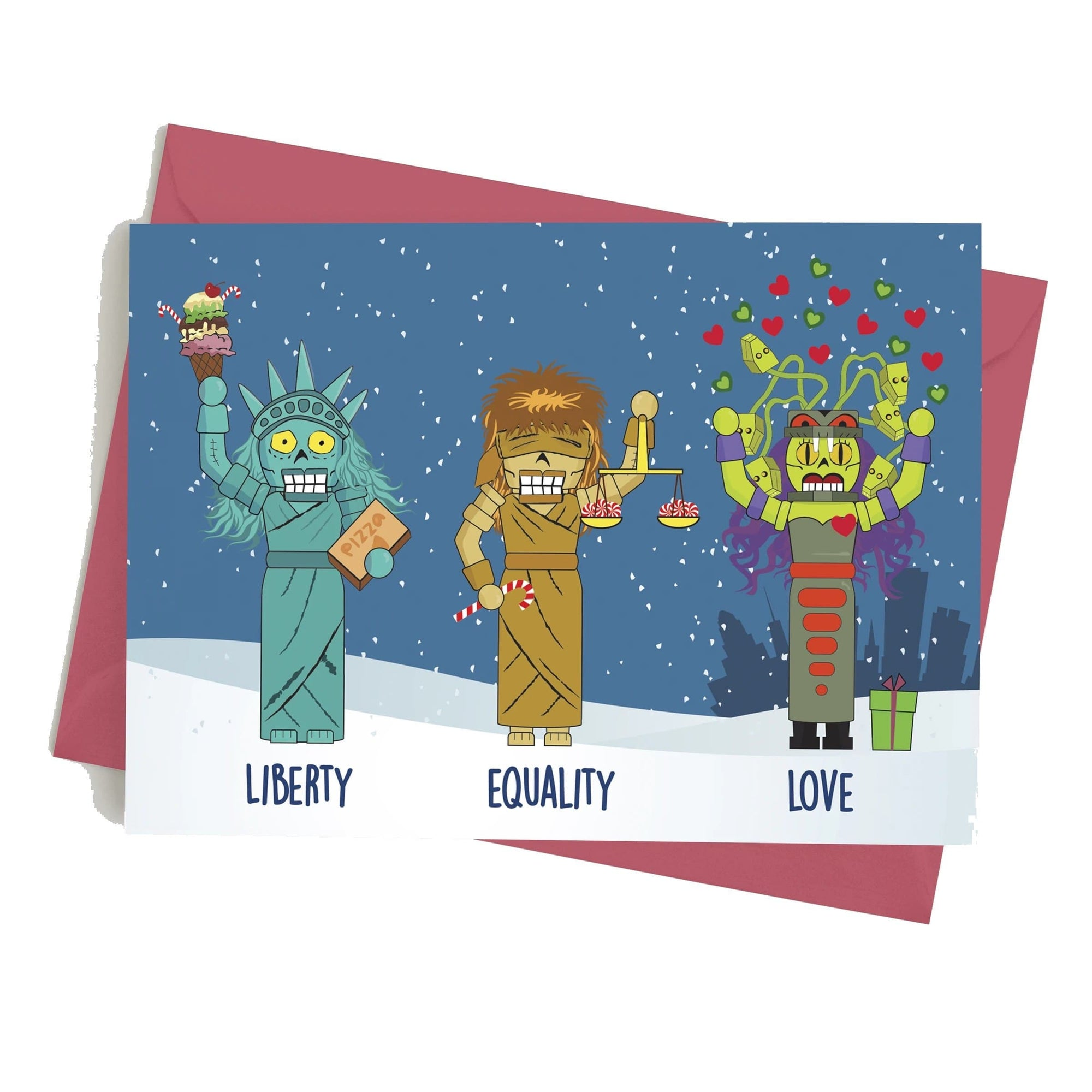 Monster Crackers Card - Liberty, Equality, Love Monster Crackers Paper Products