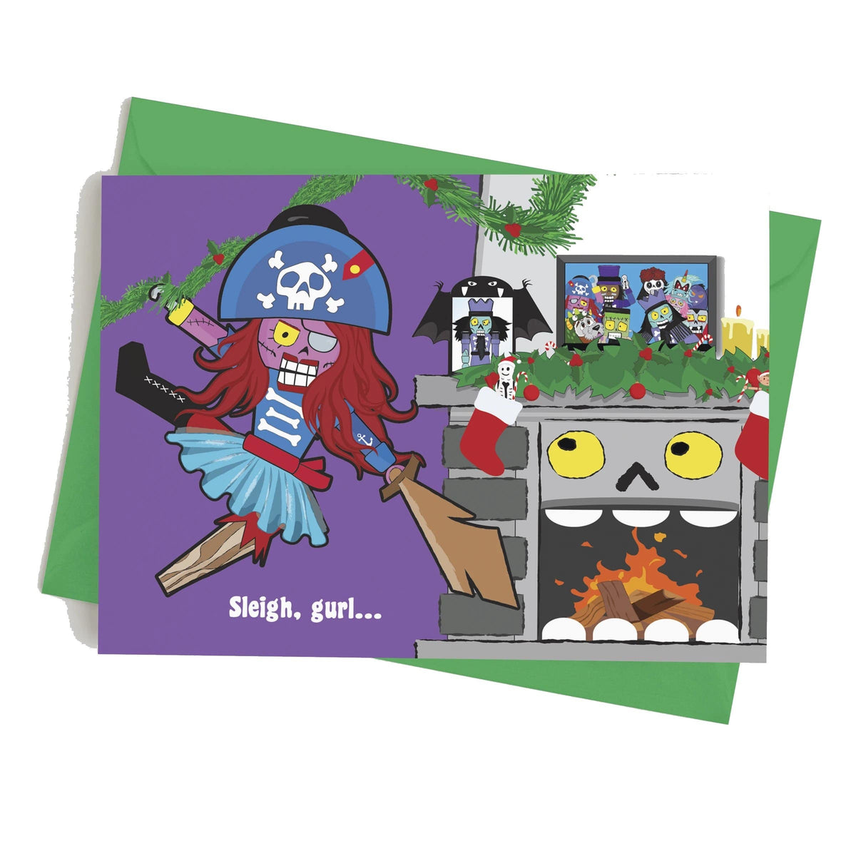 Monster Crackers Card - Sleigh, Gurl Monster Crackers Paper Products