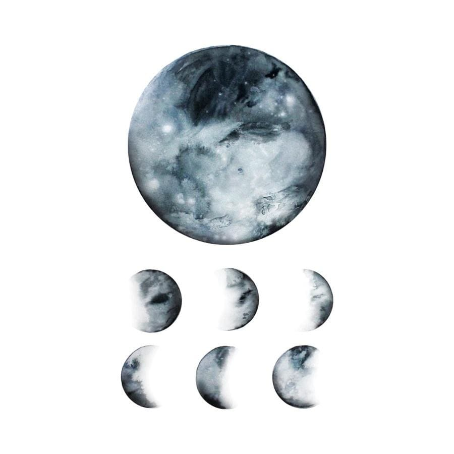 Moon Phases Tattoo Pair Tattly Art Supplies