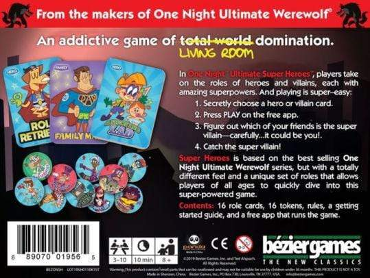 One Night Ultimate Super Heroes Bezier Games Board Games