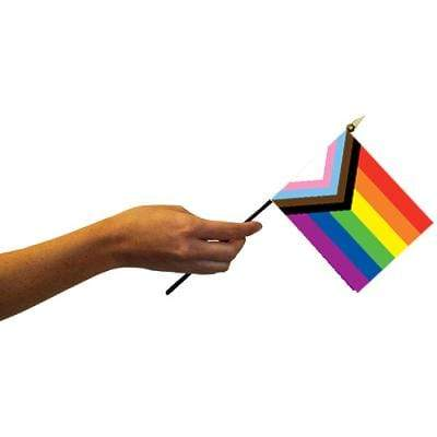 "Progress Pride (rainbow) 4""x6"" Flag on a Stick Rainbow Depot Home Decor/Kitchenware"