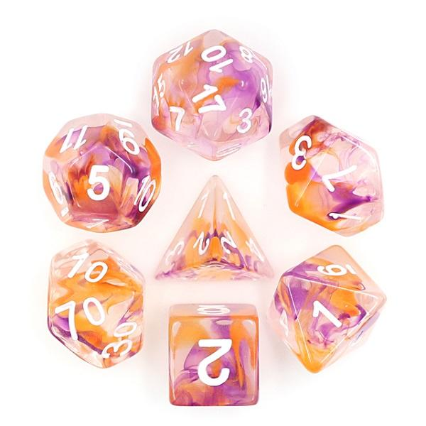 Purple and Orange Pearl dice set HD Dice / Hengda Mfg. Puzzles/Playthings