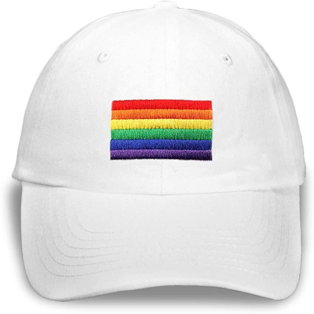 Rainbow Flag Embroidered White Cap Rainbow Depot Clothing/Accessories