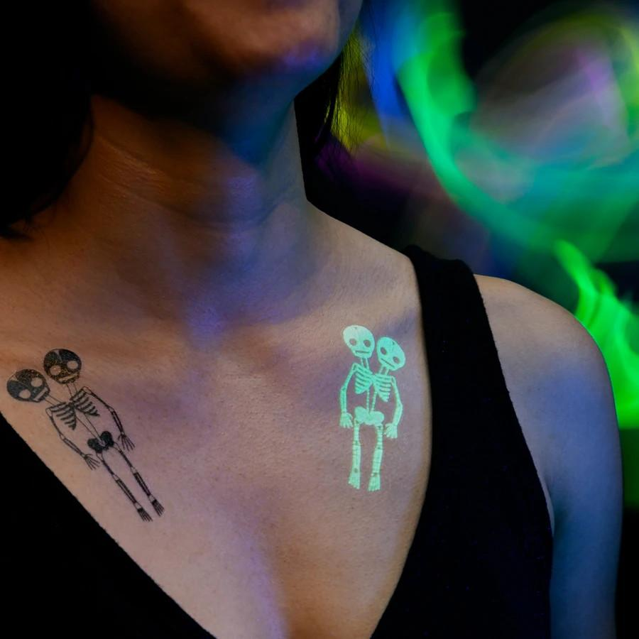 Skeletons Tattoo Pair (glow in the dark) Tattly Art Supplies