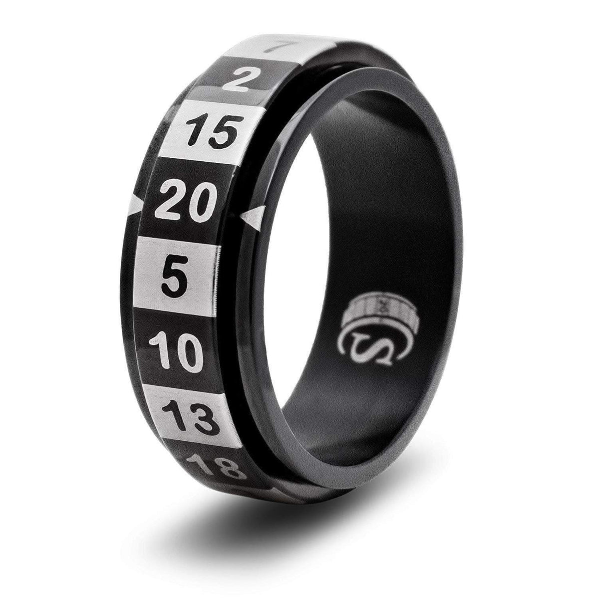 Spinning Dice Ring: Black D20 CritSuccess Clothing/Accessories