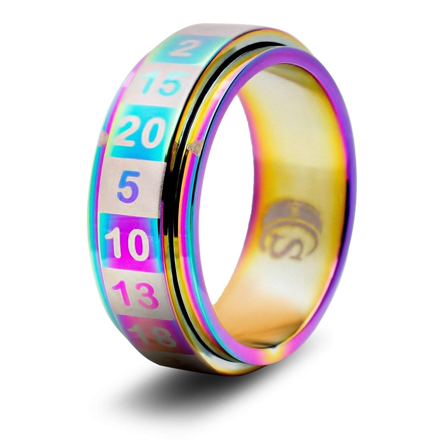 Spinning Dice Ring: Rainbow D20 CritSuccess Clothing/Accessories
