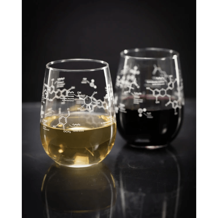Stemless Glass Set: Wine Chemistry Cognitive Surplus Home Decor/Kitchenware