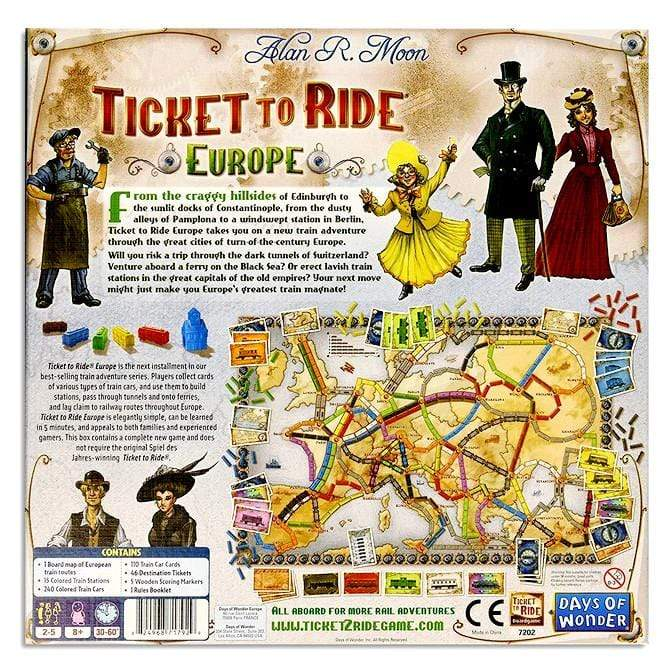 Ticket To Ride: Europe Alliance Games Board Games