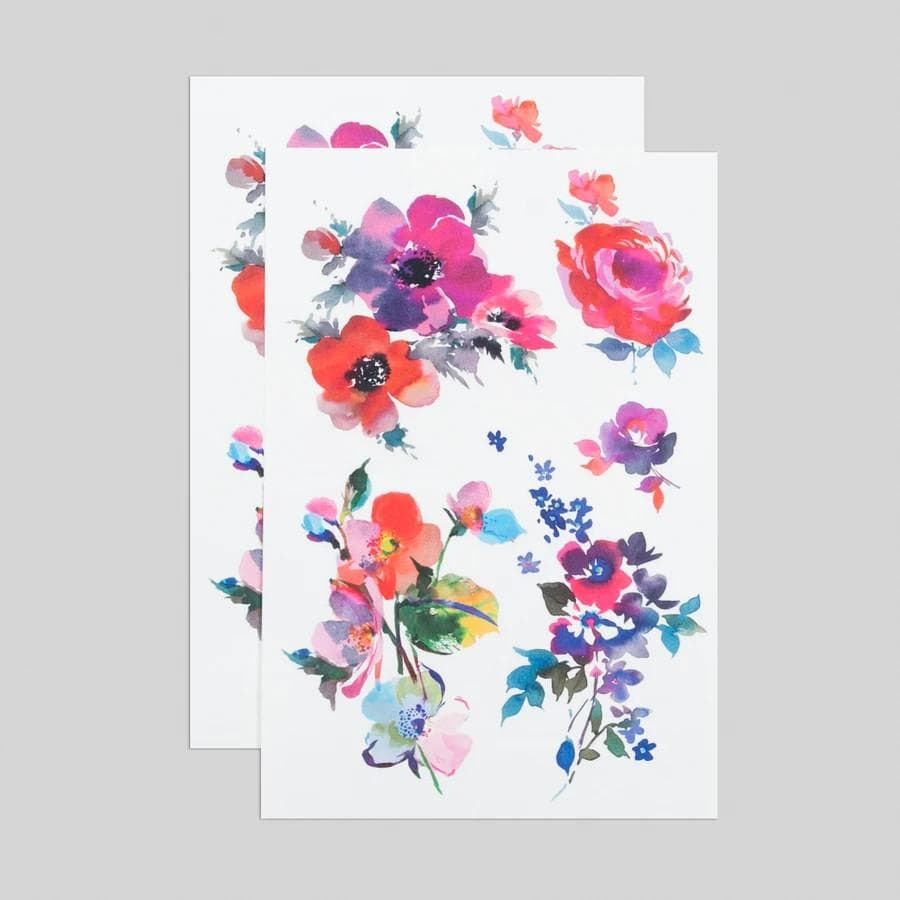 Watercolor Florals Tattoo Sheet Tattly Art Supplies