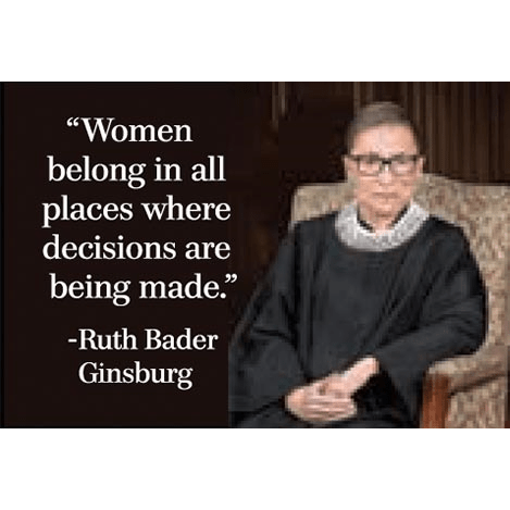 Women belong in all places where decisions are being made. -RBG magnet Ephemera Home Decor/Kitchenware